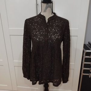 Michael Kors Brown Lace Long Sleeve Blouse Top SP